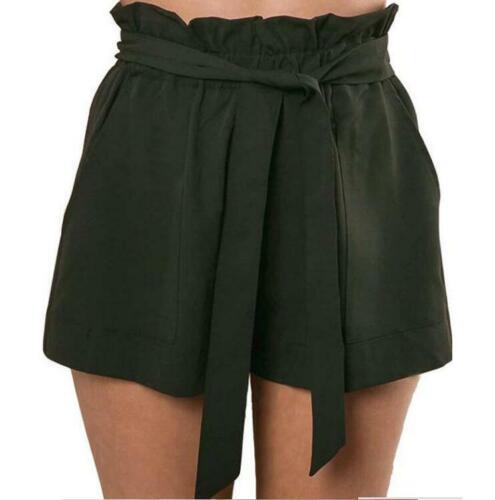 Womens Shorts A-line Bow Wide Leg Bermuda Hot Pants Elastic Waist Summer Loose B