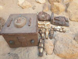 Rare Antique égyptienne Antique boîte en bois + 8 OUSHEBTI + Statue Roi Museum 2480BC