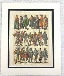 1895-Antico-Stampa-16th-C-Germania-Abito-Costume-Storico-Moda-Textiles-Art