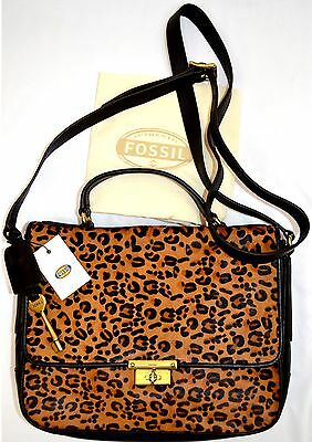$218 NWT Fossil ZB5428 Memoir Cheetah Flap Genuine Leather Cross Body Shoulder