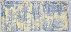 Details About Waverly Country Life Vintage Lake Blue Yellow Toile Custom Gathered Valance