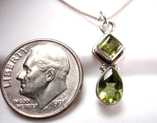 Very Small Faceted Peridot Necklace 925 Sterling Silver Teardrop /& Square New
