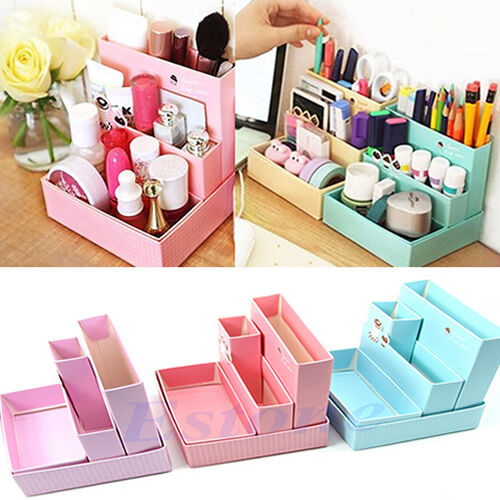 DIY Makeup Cosmetic Stationery Paper Board Storage Box Desk Decor Organizer