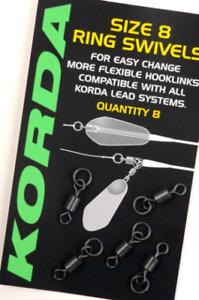 Pack of 8 Korda Size 8 Ring Swivels