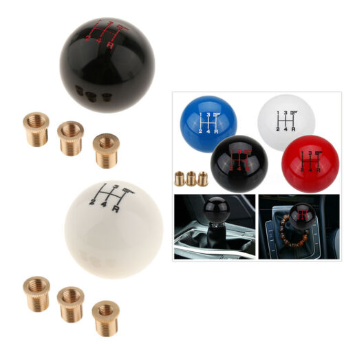 Round Ball Shape Acrylic Universal Gear Shift Knob Shifter Lever White+Black