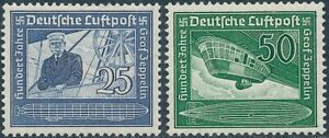Stamp-Germany-Mi-669-70-Sc-C59-60-1938-Lufthansa-Airmail-Zeppelin-Airship-MNH