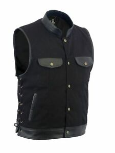 Men Motorcycle Sons of Anarchy Leather Vest Trim Denim Side Lace Waistcoat