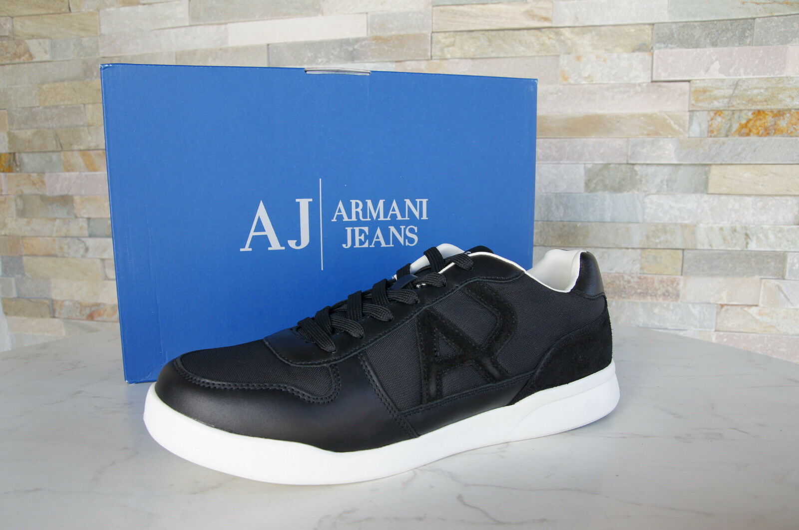 Armani Jeans Sneakers Trainers Size 42 Sport shoes 6A441 New Black Previously