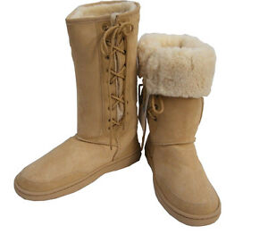 Tall-Beige-Ugg-Sheepskin-Boots-Australian-Moulded-Sole-Laceup-Wool-Boot-New
