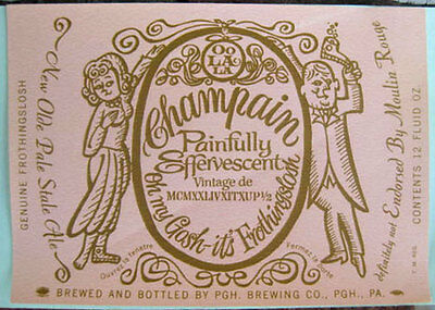 Pittsburgh Brewing OLDE FROTHINGSLOSH ALE Beer LABEL EGG NOGGIN PENNSYLVANIA