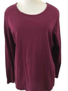 St Johns Bay knit top Size XL dark red maroon long sleeve womens cotton