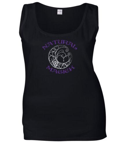Pagan T Shirt Natural Magick avec Fantaisie Lune Sorcellerie femmes Wicca Top XS-2XL