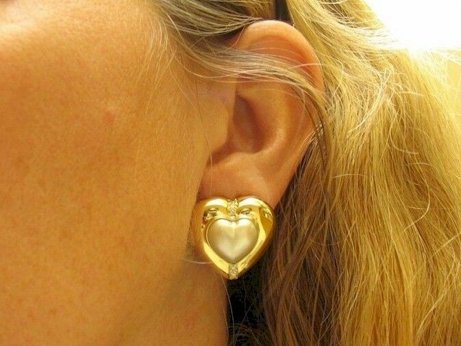 LARGE 18K YELLOW gold HEART SHAPED PEARL & DIAMOND EARRINGS (VS G)