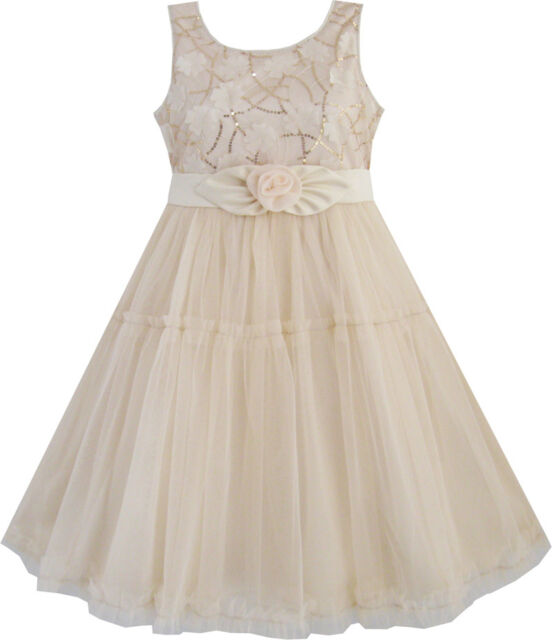 Girls Dress Formal Party Sequins Beige Tulle Layers Wedding Pageant Kids 2-10Y