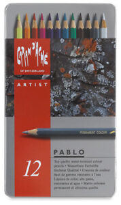 CARAN D'ACHE PABLO PERMANENT COLOURED PENCILS Tin of 40 Assorted Colours