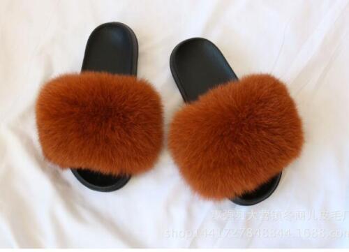 Women/'s Sliders Luxury Real Fox Fur Indoor Outdoor Slides Slippers Sandals Shoe