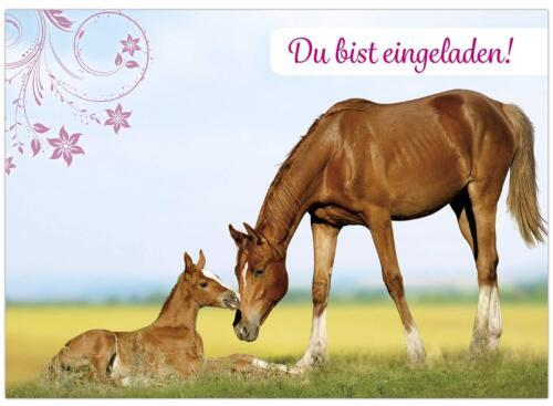 16 Geburtstagseinladungen im Set Einladungskarten Kinder Geburtstag Pferde