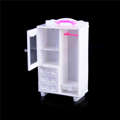 Furniture Plastic White Wardrobe Closet Doll Accessories Toys Gift GV HL
