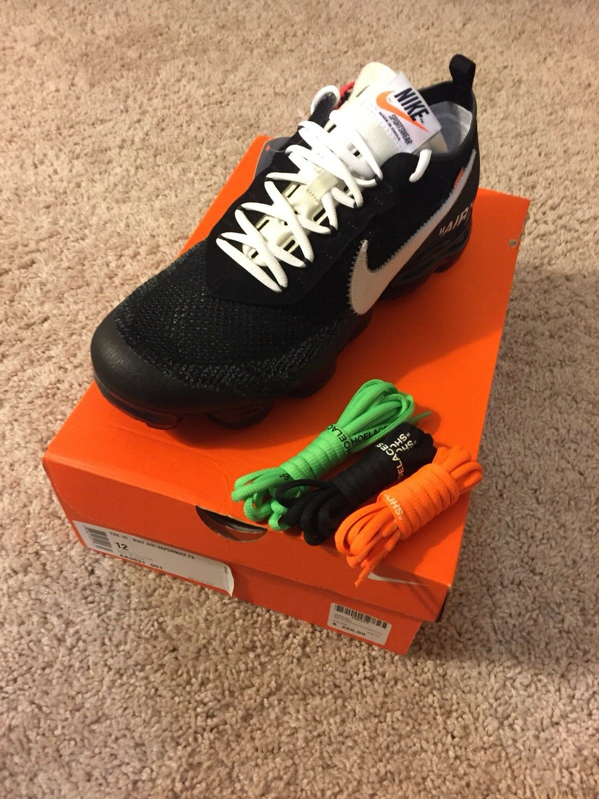 24aeff3b64 Off-White X Nike Air VaporMax Size 12 FK Flyknit Virgil The 12 Black AA3831
