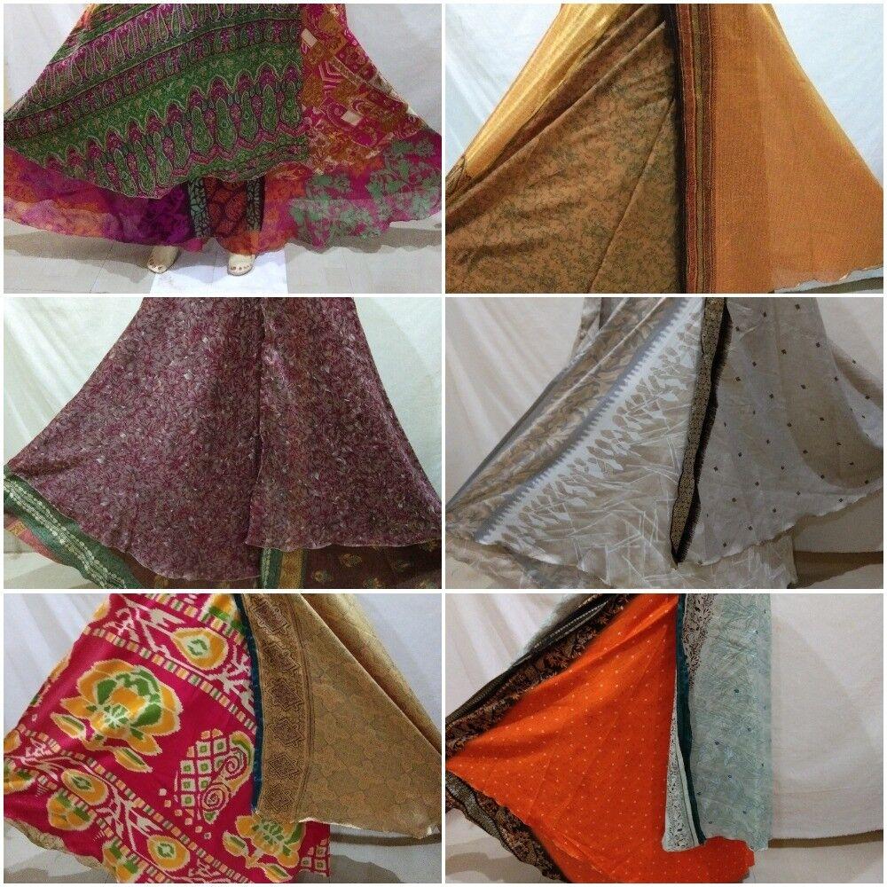 Indian Vintage Silk Sari Magic Wrap Around Long Skirts Dress Wholesale Lot 10 Pc