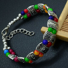 Elegant High Quality New Tibet Silver Multicolor Jade Turquoise Bead Bracelet1RT