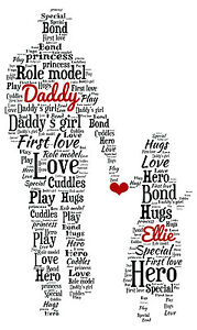 Image Is Loading Personalised Dad Daddy Daughter Word Art Birthday Gift