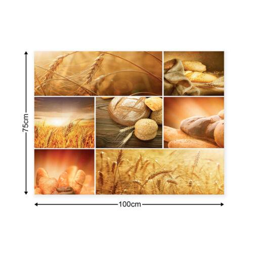 Leinwandbild canvas print Wandbilder Keilrahmen Küche Gebäck Brot Ähren Getreide