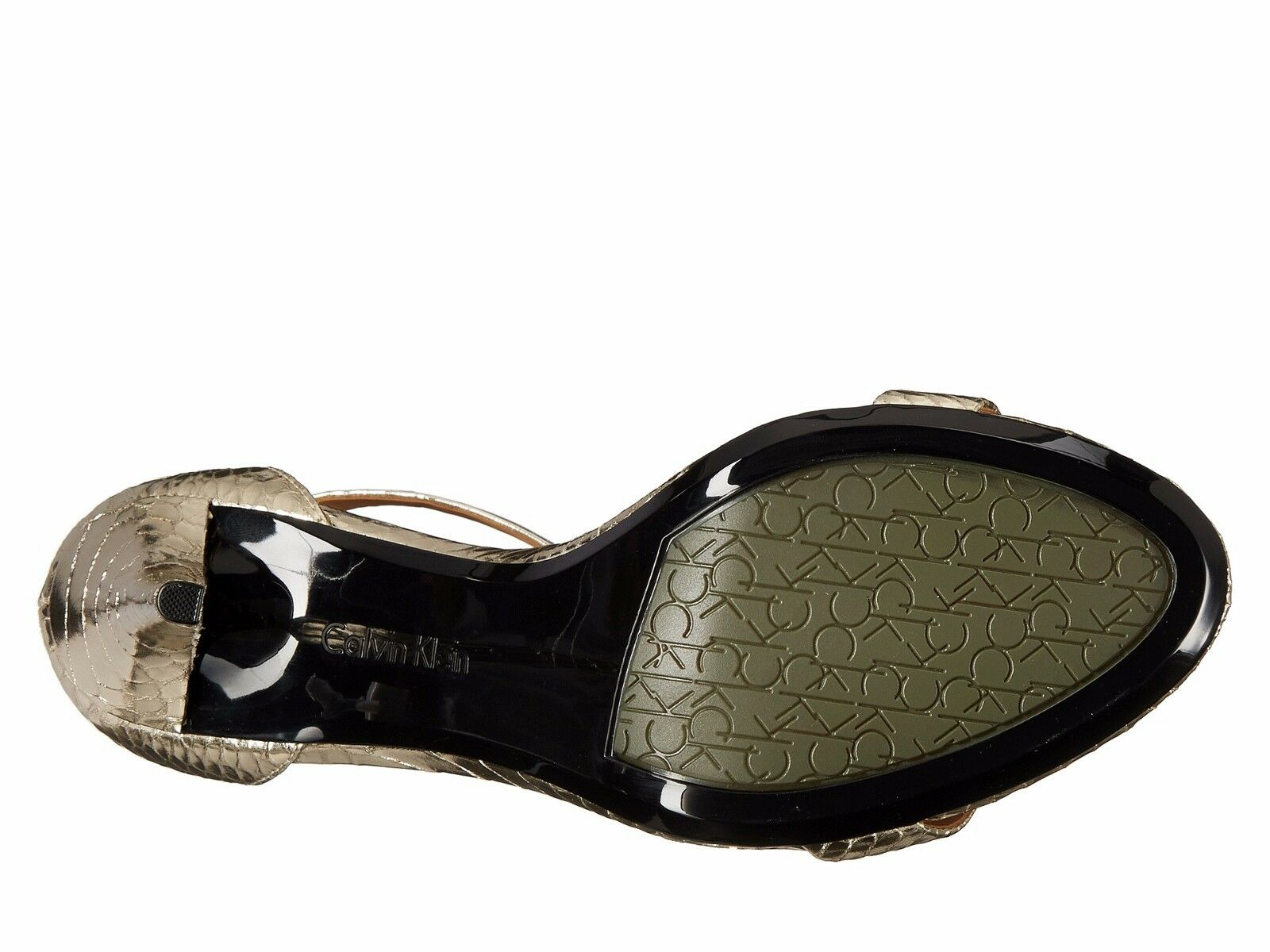 CALVIN KLEIN KLEIN CALVIN Nasi Metal Snake Platino Leder 8.5 Open-toe T-Strap Stiletto New 6266b1