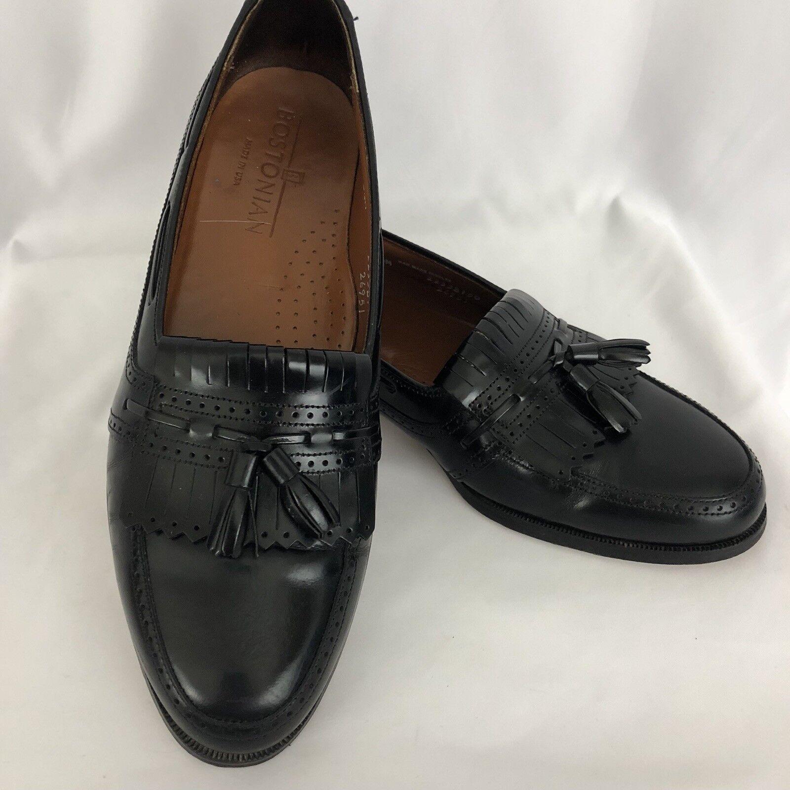 Bostonian Mens Classics Black Leather Dress Tassel Loafers shoes 8.5 M EUC SH266