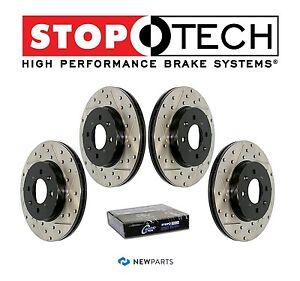 StopTech Front /& Rear Slotted Brake Discs KIT for Subaru Impreza WRX STi