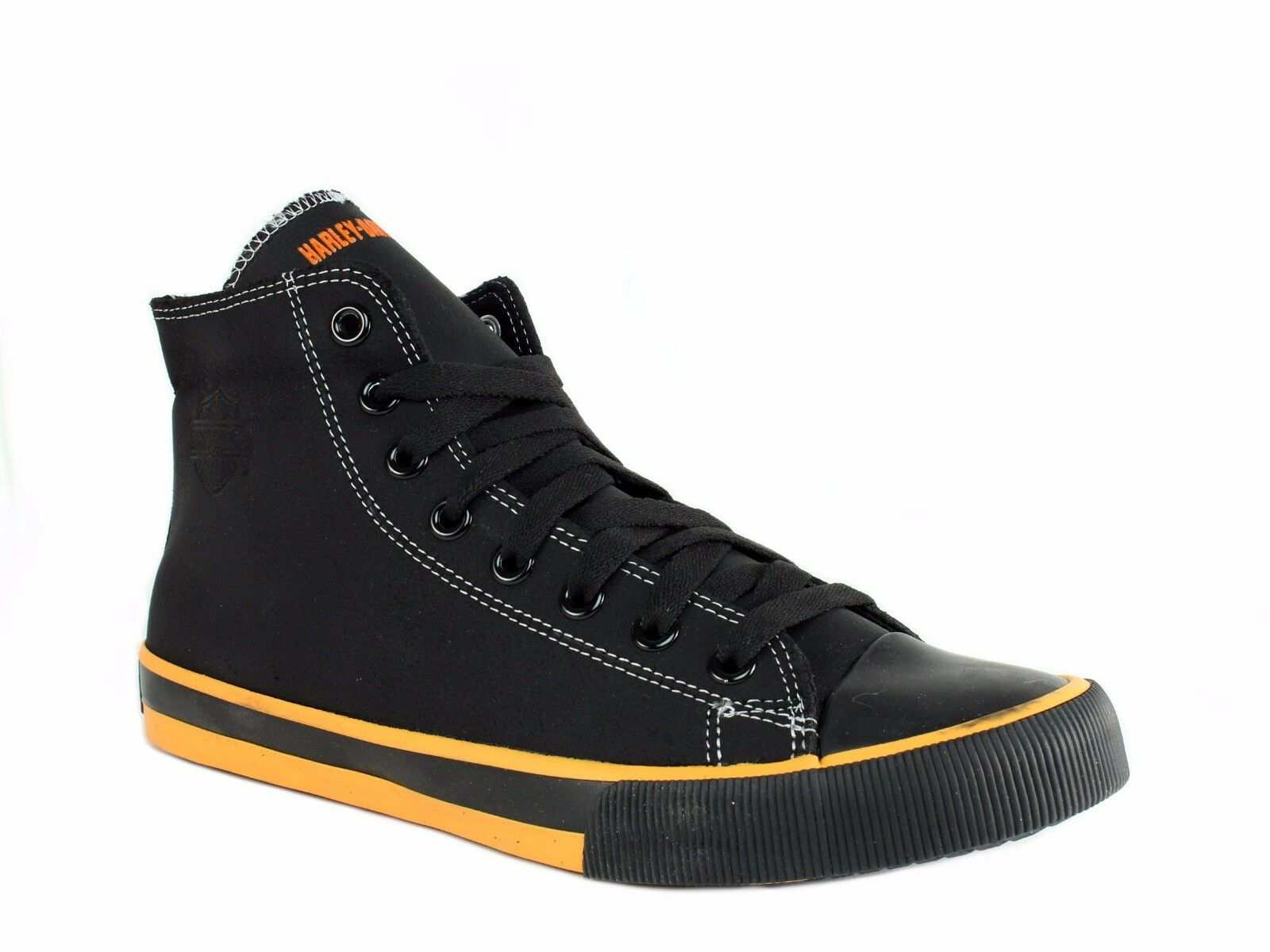 Harley Davidson NATHAN HI TOP Homme Motorcycle Noir Orange Leather Sneakers