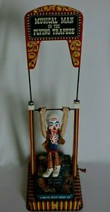 Musical-Man-on-the-Flying-Trapeze-Vintage-Tin-Toy-Circus-Collectible-WInd-Up-50s