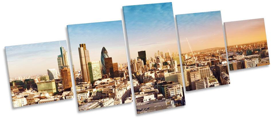 Londres Ciudad puesta de sol horizonte del horizonte sol de múltiples LONA pared arte Foto Marco De Caja 38fc44