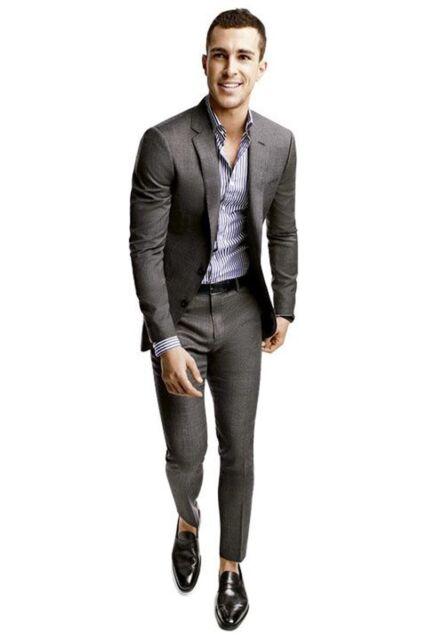 Custom Made Fashion Dark Gary Regular Button Broadcloth Groom Wedding Suits !
