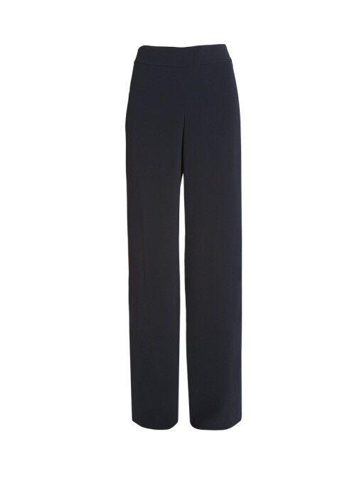 Worth New York Navy Women's TRIACETATE FANCEE PANT Thigh High Slit Size 14  448