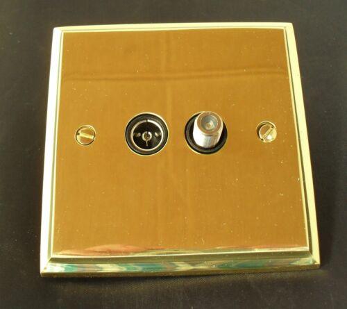 Heritage Brass Satellite Coaxial Socket Polished Edwardian Brass  K926BN Black