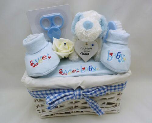 BLUE NEW BABY BOY BASKET GIFT HAMPER NAPPY CAKE  BABY SHOWER MATERNITY 0-3M