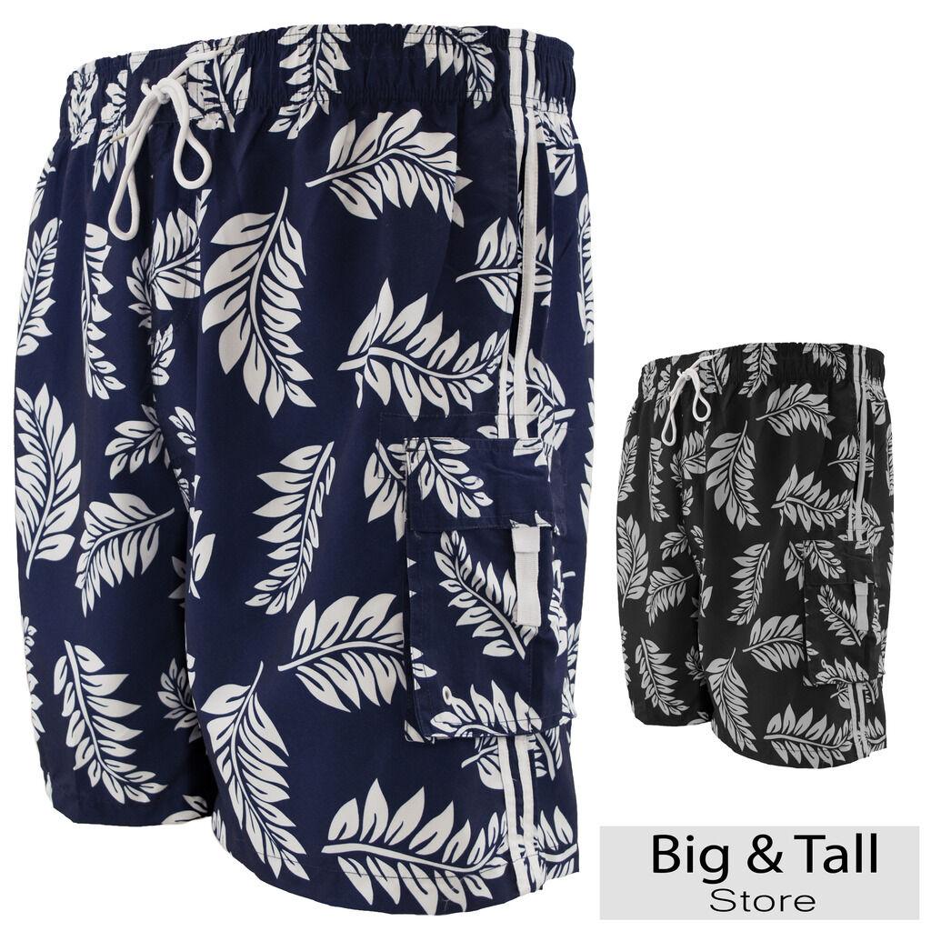 Big Men's Cargo Swim Trunks by Falcon Bay 3XL - 8XL Tropical Print