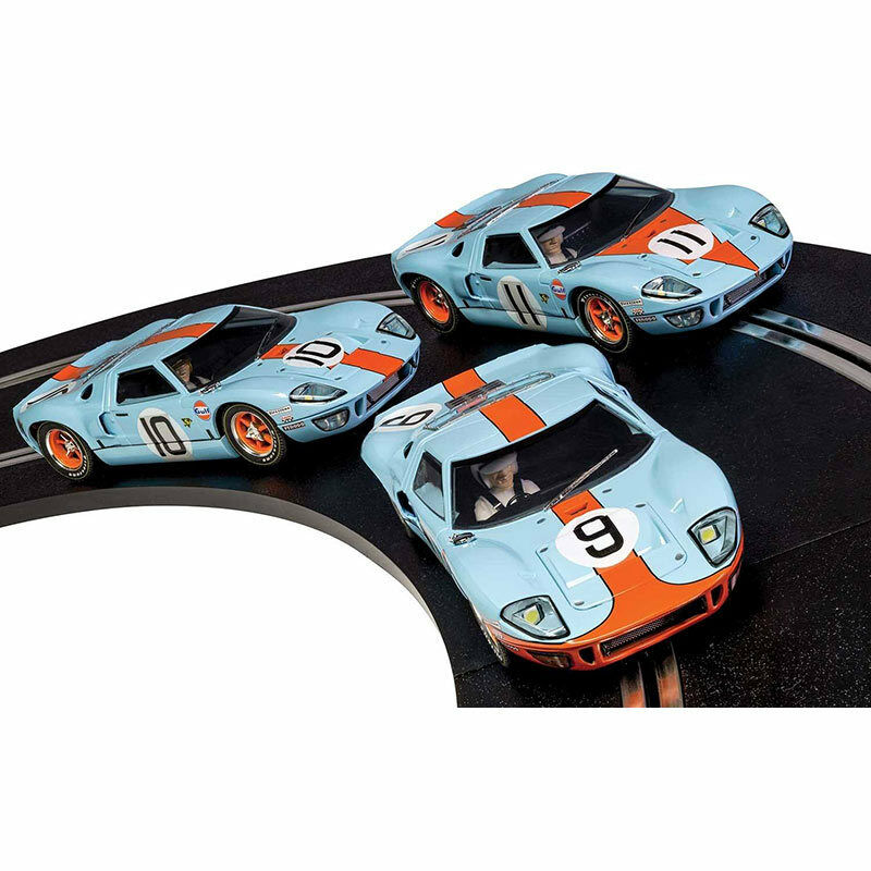Scalextric Slot Cars C3896A leyendas Ford GT40 Lemans Gulf Oil Triple Pack de 2018