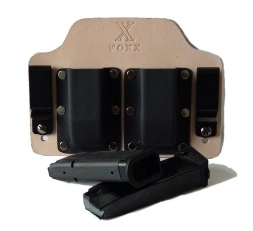 FoxX Holsters Leather /& Kydex IWB Double Magazine Carrier Taurus PT111 /& PT140