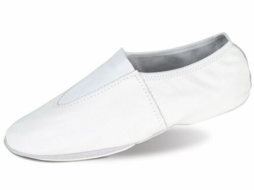 GYMNASTIC SHOES WHITE LEATHER TRAMPOLINING TRAINING DANCE CUSHIONED PUMPS