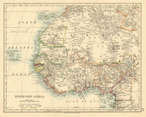 Tribal Map Of West Africa.Details About Colonial West Africa Tribal Areas Caravan Routes Grain Gold Slave Coast 1892 Map