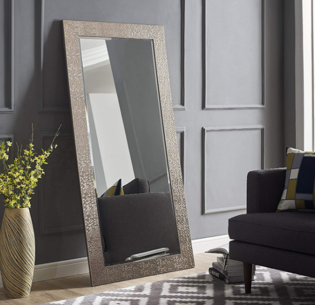 Leaning Mirror Full Length Wall Mounted Large Black Wide Framed