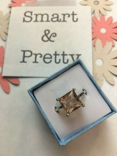 Morganite 925 Princess Cut Ring Earrings Necklace Pendant Peach Hue Retail $523