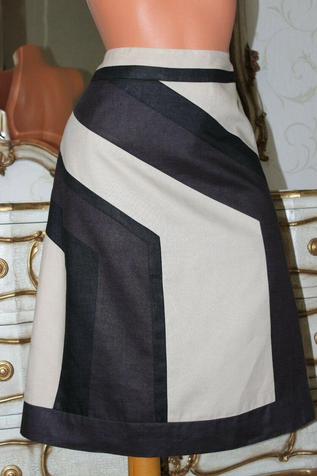 PRINCIPLES Beige & Brown Ramie & Linen Mix Ladies  A - Line Lined  Skirt Sz 10