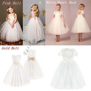 93ecd8edb Baby Girl Kid Flower Wedding Tulle Gown Fancy Party Princess Dress ...