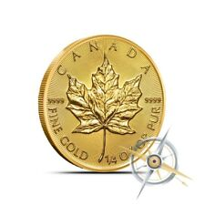 2018 Canada 1/4 Oz $10 .9999 Fine Gold Maple Leaf Coin - Gem BU in Mint Plastic