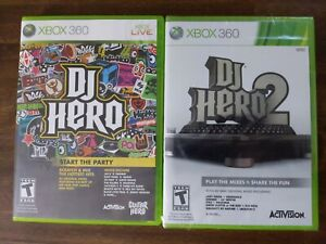 USED (w/ manuals) DJ Hero 1 + 2 - Lot of 2 - Xbox 360 - Free Shipping