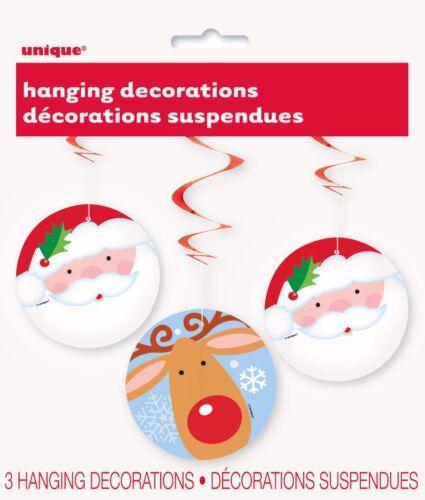 Christmas Grotto Decorations Santa Xmas Kids Hanging Reindeer Swirls
