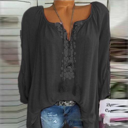 Damen Bluse Blumen Langarm Longsleeve Longtop Oberteil Tops Shirts Tunika 34-48
